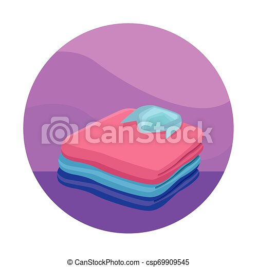 stacked folded clothes icon cartoon - csp69909545