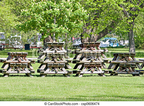 Stacked Picnic Tables   Csp0606474