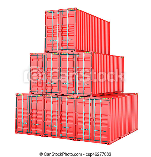 Stacked red cargo containers over white - csp46277083