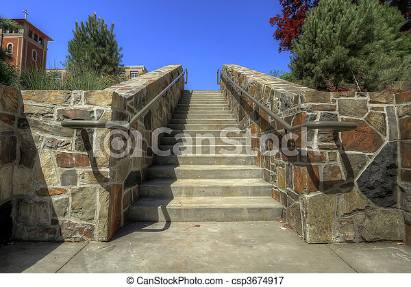 Stacked Stone Wall Staircase - csp3674917