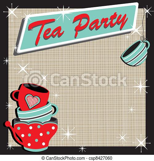 Stacked tea cups Tea Party  - csp8427060