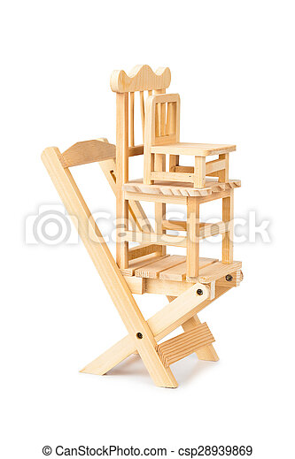 Stacked toy wooden chairs - csp28939869