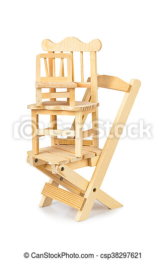 Stacked toy wooden chairs - csp38297621