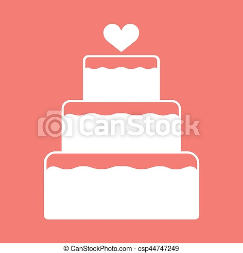 Stacked wedding cake dessert with heart topper flat color vector