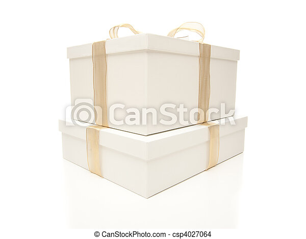 Stacked White Gift Boxes with Gold Ribbon Isolated - csp4027064