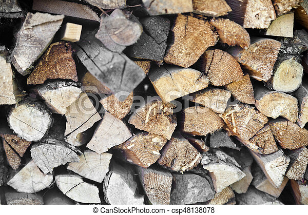 stacked wood for the fireplace - csp48138078