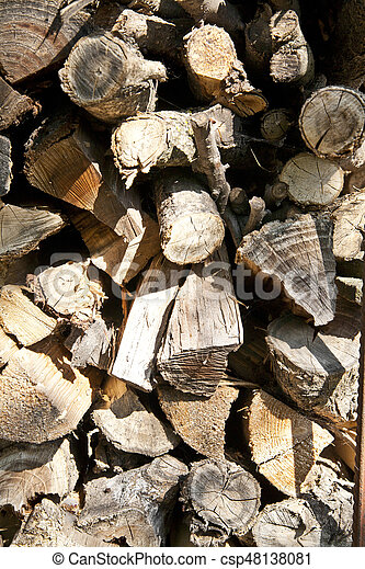 stacked wood for the fireplace - csp48138081
