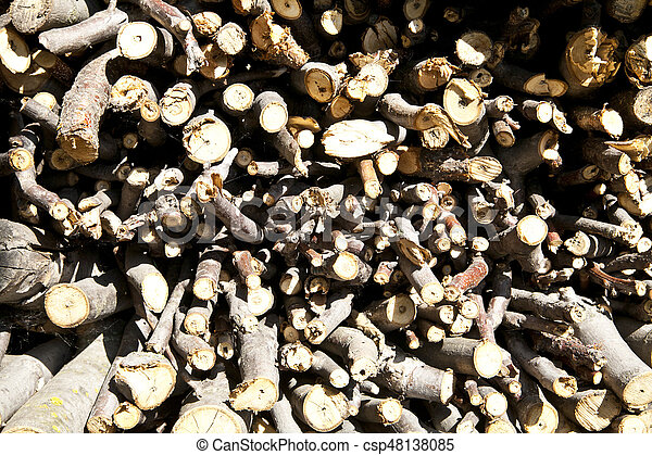 stacked wood for the fireplace - csp48138085