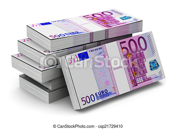 Stacks of 500 Euro banknotes - csp21729410