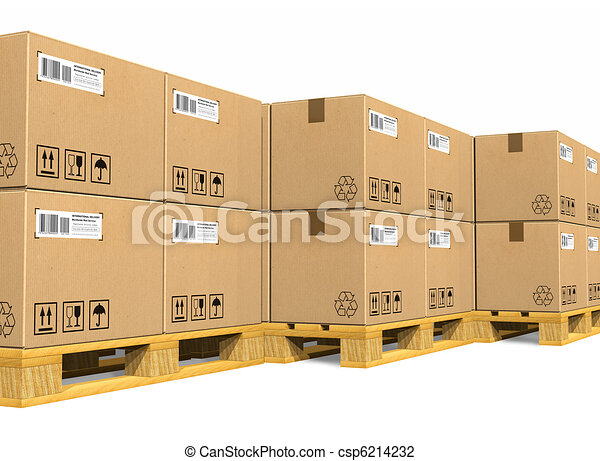 Stacks of cardboard boxes - csp6214232