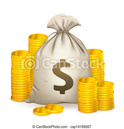 Stacks of coins and money bag, 10eps - csp14169267