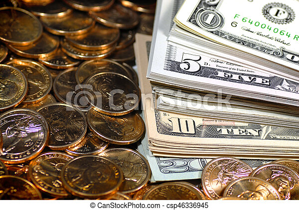 Stacks Of Coins And Money Representing Wealth Success And Riches Stacks Of Money And Coins Representing Success Wealth And Canstock