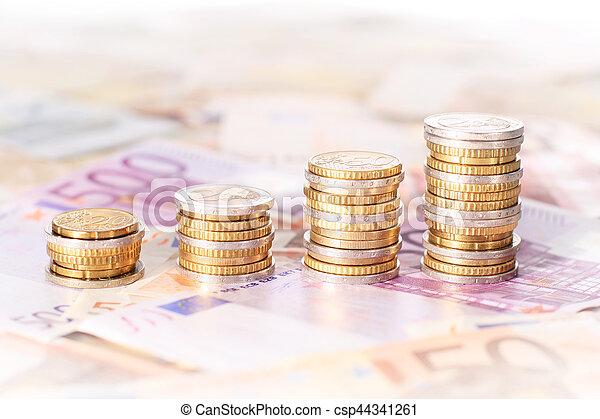 Stacks of euro coins. - csp44341261