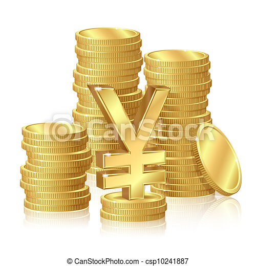 Stacks of gold coins - csp10241887