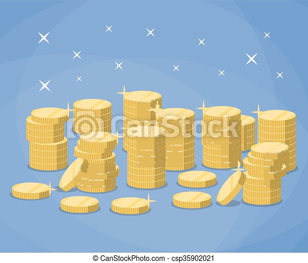 Stacks of gold coins - csp35902021