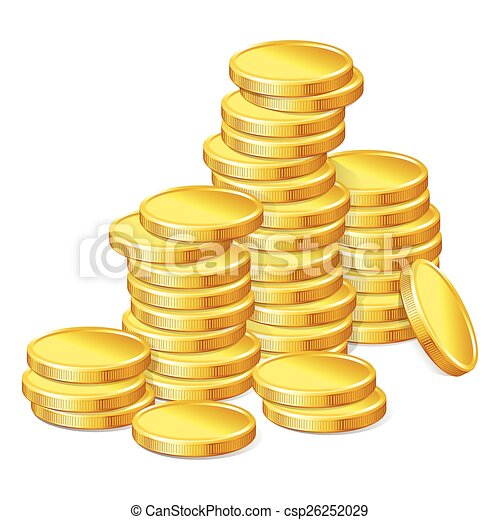 Stacks of gold coins on white background - csp26252029