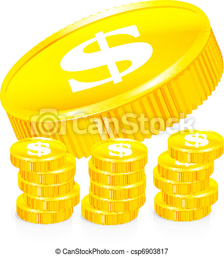 Stacks of gold coins, vector - csp6903817