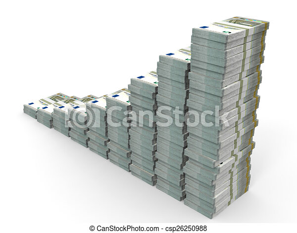 Stacks of money. Five euros. - csp26250988