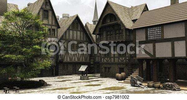 stad, bederven, middeleeuws, centrum, fantasie, of - csp7981002