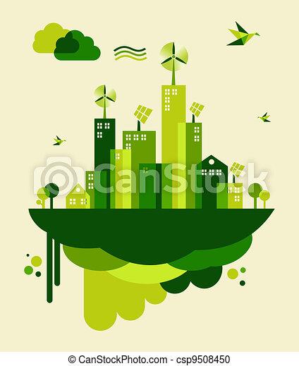 stad, concept, groene, illustratie - csp9508450