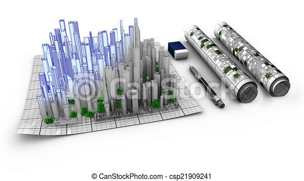 stad, het bovenkomen, concept, kaart, ontwerp, architecturaal - csp21909241