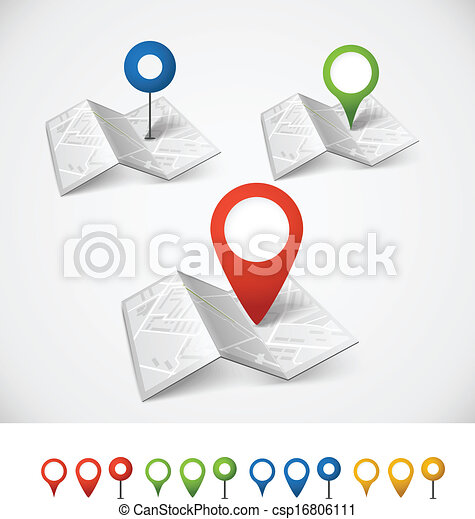 stad kartlagt, färg, abstrakt, hoplagd, kollektion, nålen - csp16806111