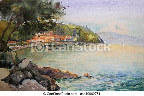 Stad rijeka watercolor zeezicht schilderij kroati for Schilderij zeezicht
