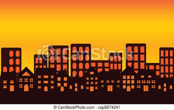 stad skyline, ondergaande zon  - csp5674241