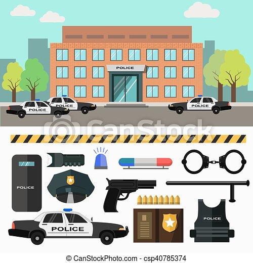 stad, station., vector, politie, illustration. - csp40785374
