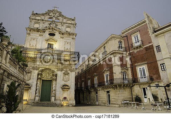stad, syracuse, sicilië, oud - csp17181289