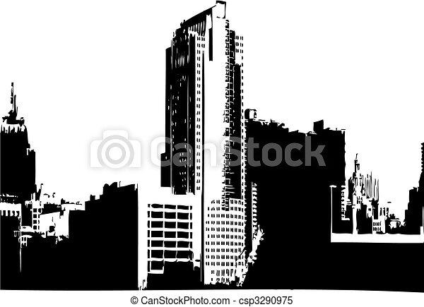 stad, vector, grafiek - csp3290975