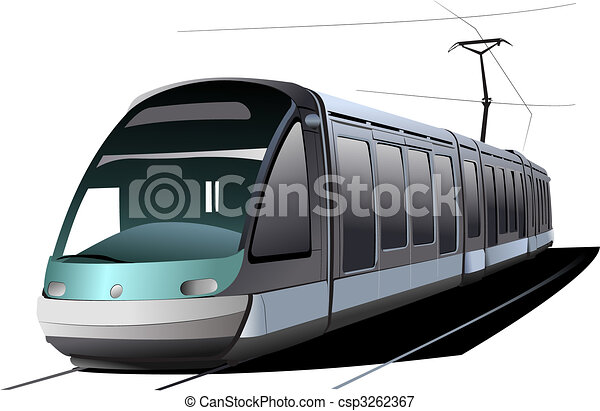 stad, vector, transport., illustratie, tram. - csp3262367