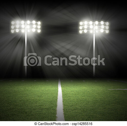 Stadium Game Night Lights on Black - csp14285516