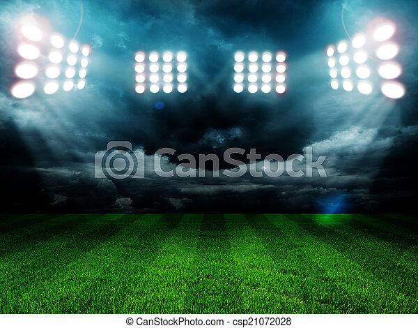 stadium lights at night and stadium - csp21072028