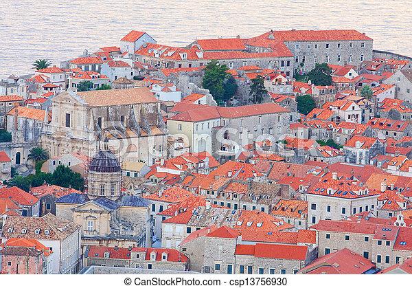 stadt, abend, kroatien, altes , dubrovnik - csp13756930