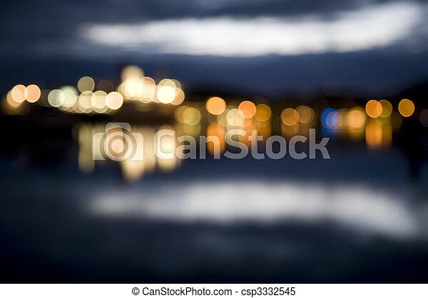 stadt, abstrakt, fokus, lichter, nacht - csp3332545