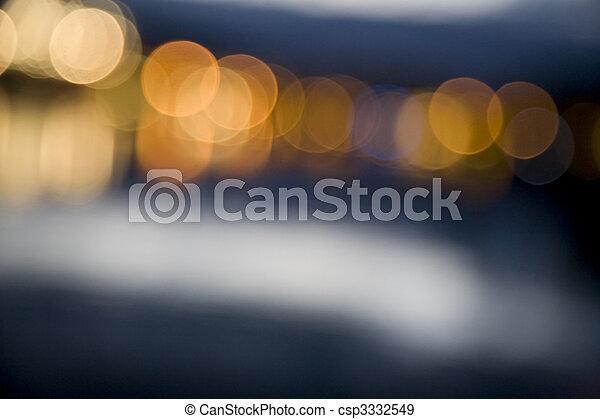 stadt, abstrakt, fokus, lichter, nacht - csp3332549