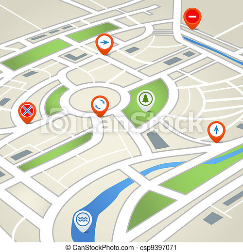 stadt, abstrakt, landkarte - csp9397071