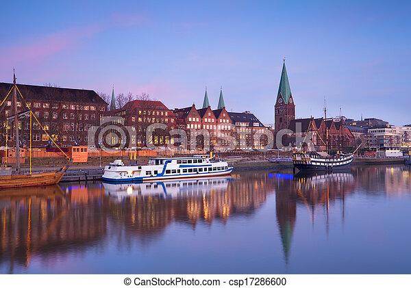Bremen Fotografie stadt aus fluß sonnenuntergang bremen rosa stadt aus