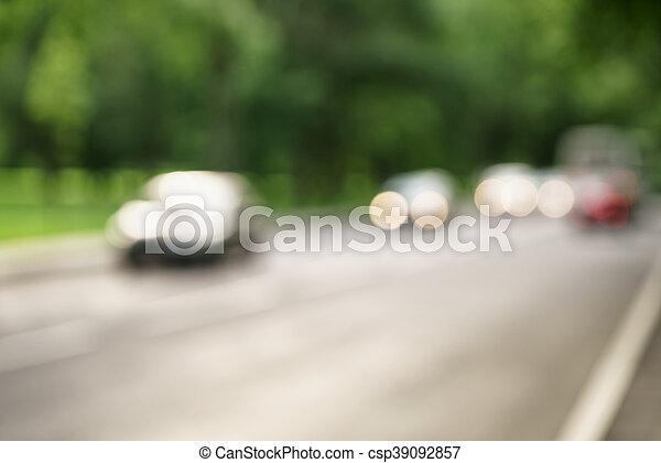 stadt, auto, gasse, grüne bäume, hintergrund, verkehr - csp39092857