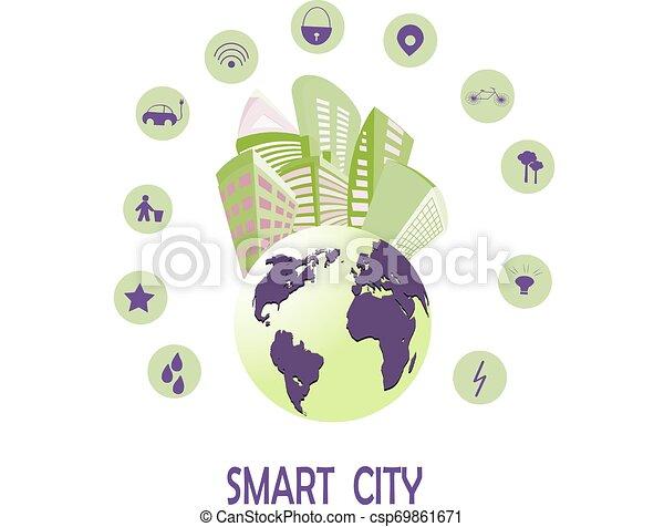 stadt, begriff, sachen, heiligenbilder, wirklichkeit, internet, dienstleistungen, netze, klug, augmented - csp69861671