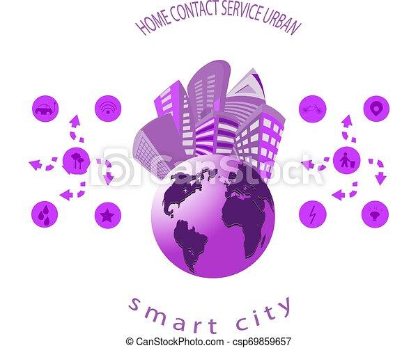 Intelligente Stadt mit intelligenten Dienstleistungen und Icons, Internet von Dingen, Netzwerken und erweitertem Reality-Konzept - csp69859657