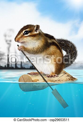stadt, begriff, verunreinigung, backenhörnchen, weg, ökologie, tier, schwimmend - csp29653511
