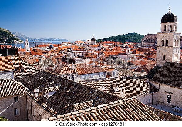stadt, dächer, aus, altes , dubrovnik - csp12704811