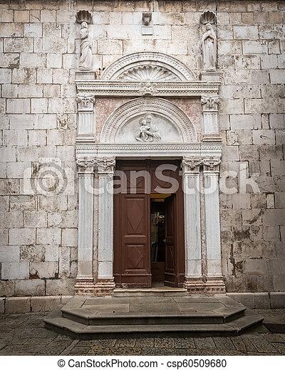 stadt, eingang, cres, alte kirche - csp60509680