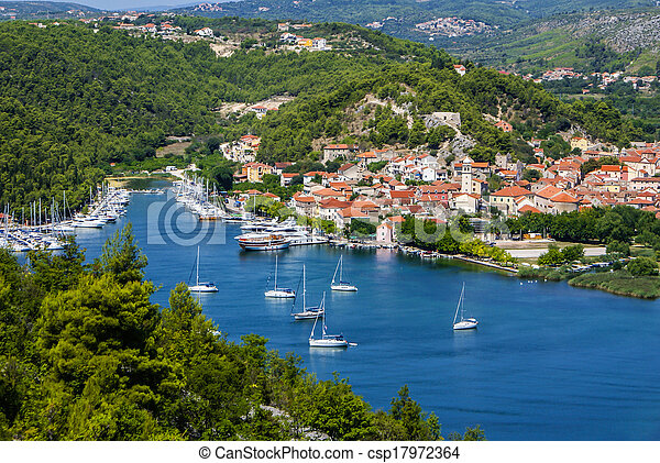 stadt, eingang, park, national, -, kueste, krka, skradin, klein, kroatien, adria - csp17972364