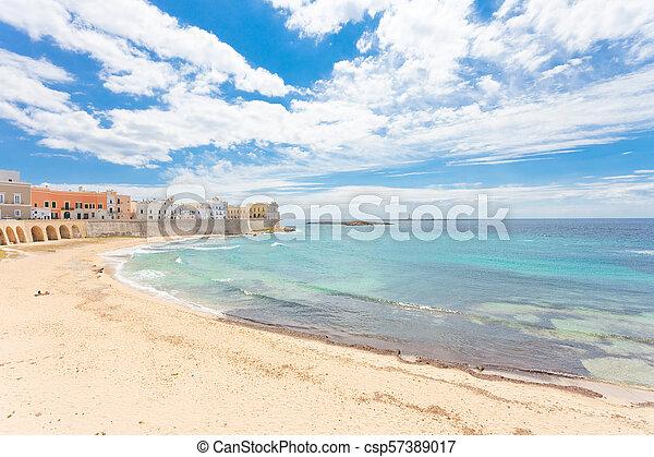 stadt, entspannend, gallipoli, -, mitte, apulia, antikisiert, sandstrand - csp57389017