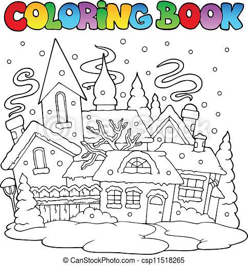 Stadt, färbung, winter, bild, 1, buch. Stadt, färbung,... Clipart ...