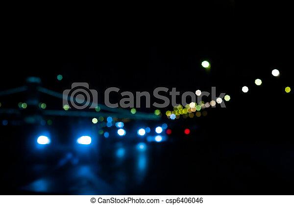 stadt, fokus, lichter, verkehr, nacht - csp6406046