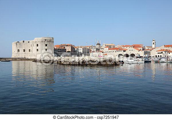 stadt, historisch, kroatien, dubrovnik, ansicht - csp7251947